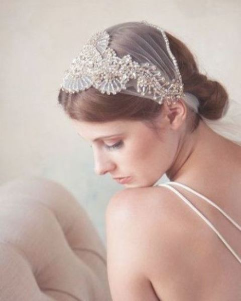 an embellished Juliet cap veil is a stunning and bold idea for an art deco bride