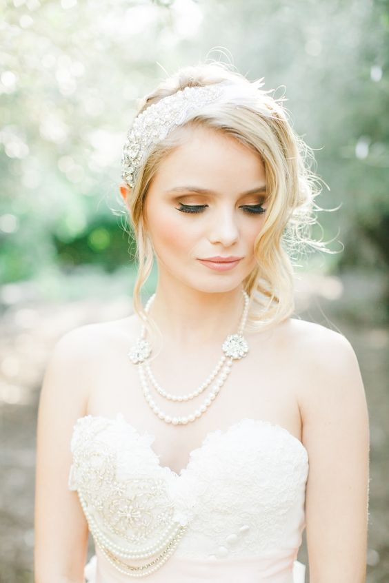 an embellished pearl headband paired with a chic pearl necklace for a jaw dropping vintage bridal look
