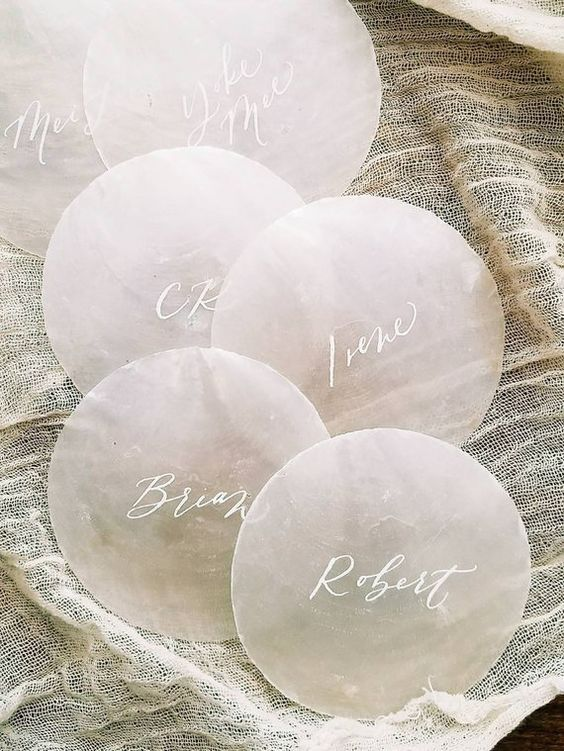 ethereal capiz shell escort cards will for a nautical, coastal or beach wedding, they are simple to DIY