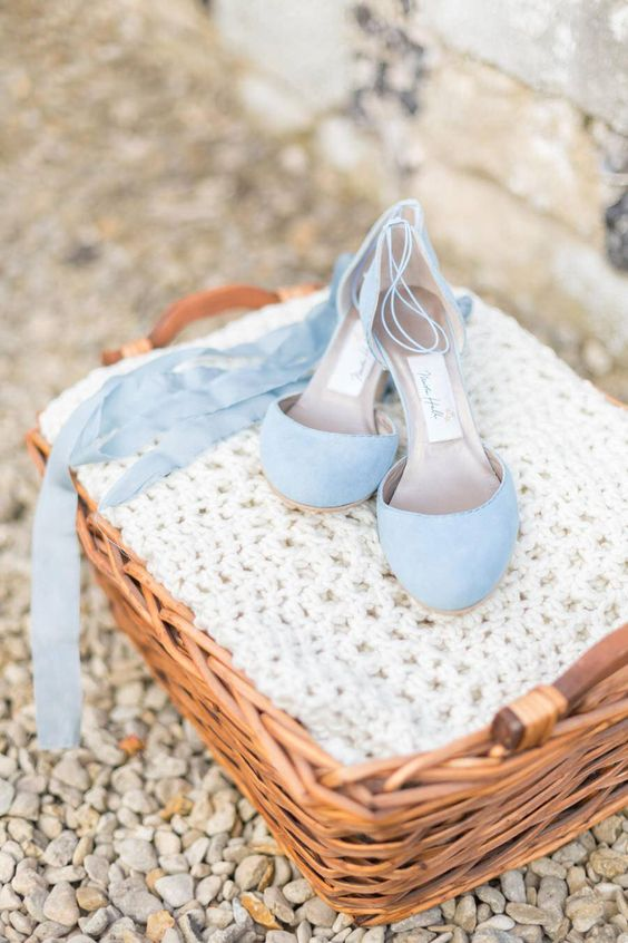 powder blue lace up wedding shoes will be a nice something blue idea for a bride