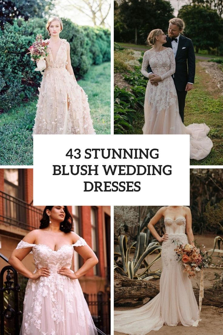stunning blush wedding dresses cover