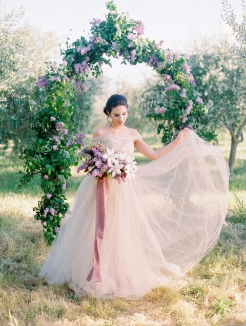 a blush off the shoulder airy weddding ballgown is a gorgeous idea for a spring or summer bride