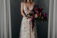 a stylish blush thick strap wedding dress