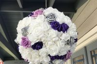 a pretty purple, pink, white and grey rose pinata as a creative and cool wedding guest book is a lovely solution for a romantic wedding
