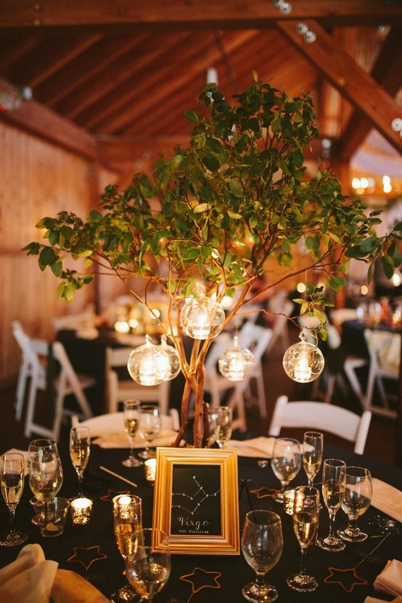 a whimsy centerpiece of a chalkboard constellation sign, greenery branches and candles hanging in bubbles
