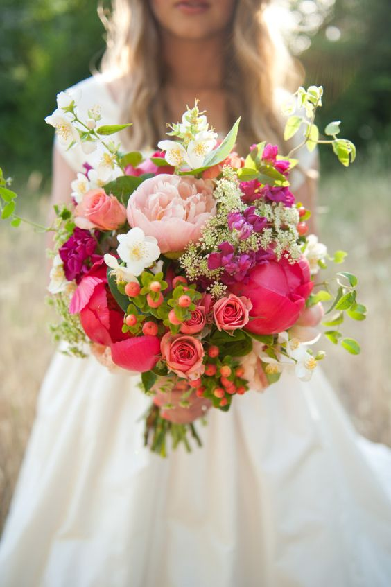 a stunning colorful wedding bouquet