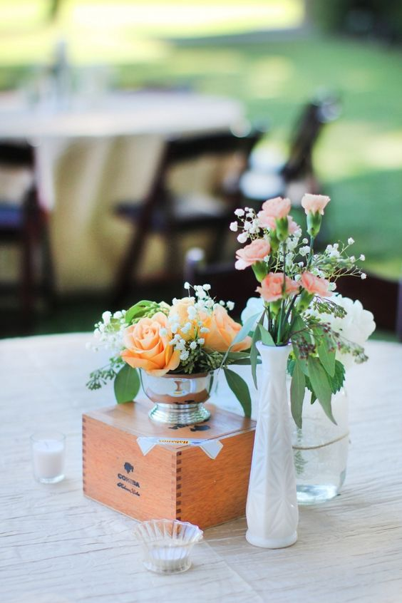 a simple yet cute rustic wedding centerpiece