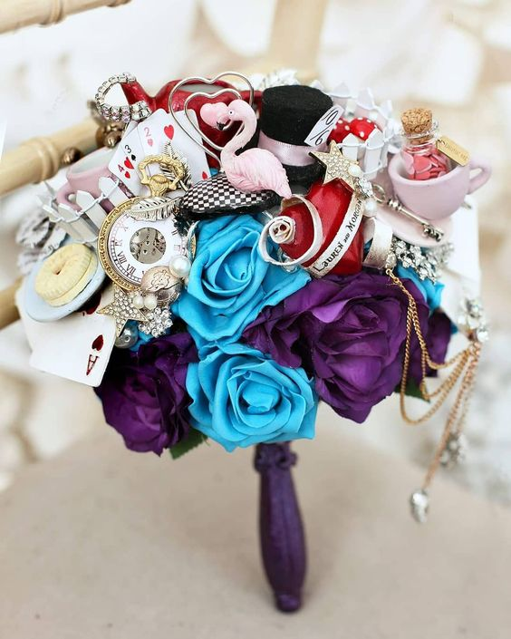 an Alice in Wonderland wedding bouquet is a lovely idea for a wedding with such a theme and it looks crazy
