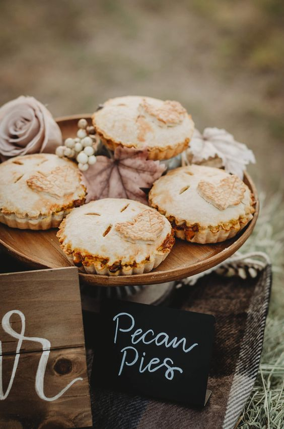 homemade pecan pies are delicious fall bridal shower desserts you'll totally love
