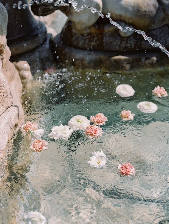 just a bit of pink and white blooms floating in your pool or fountain is a gorgeous idea for a wedding
