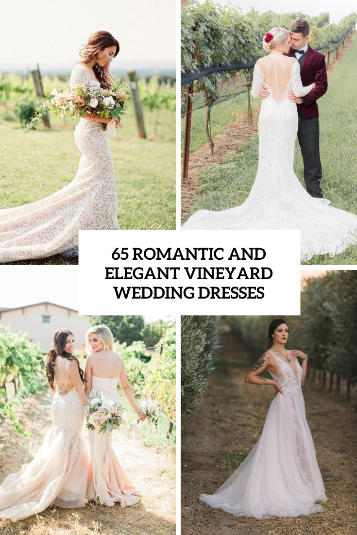 romantic and elegant vineyard wedding dresses cover