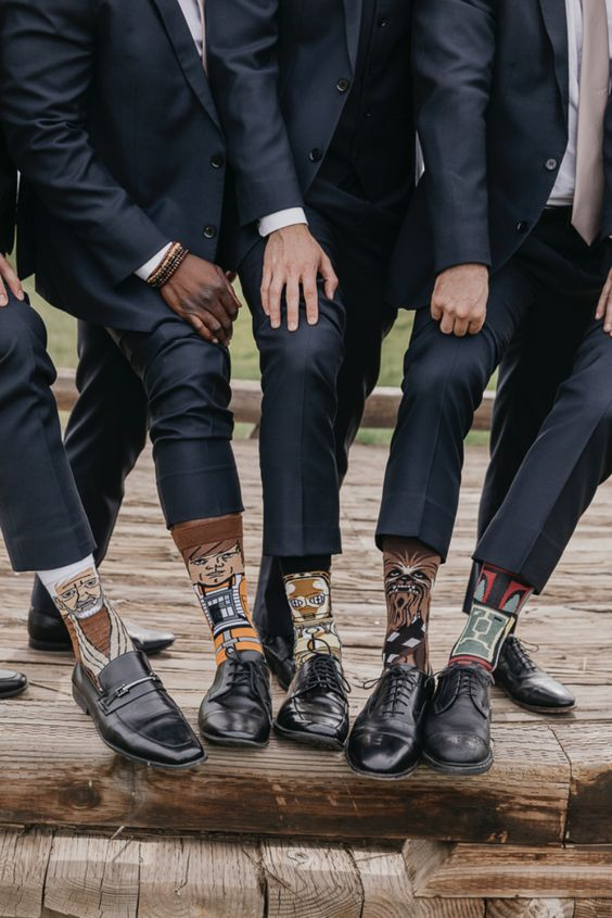 Star Wars socks for groosmen and grooms are very fun and cool accessories