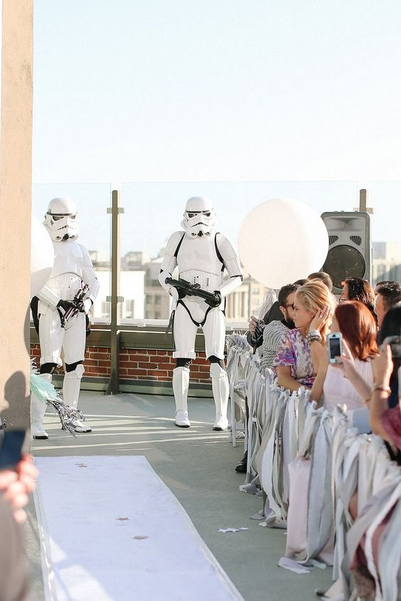 Stormtroopers guarding the wedding aisle are a fun idea for a Star Wars themed wedding