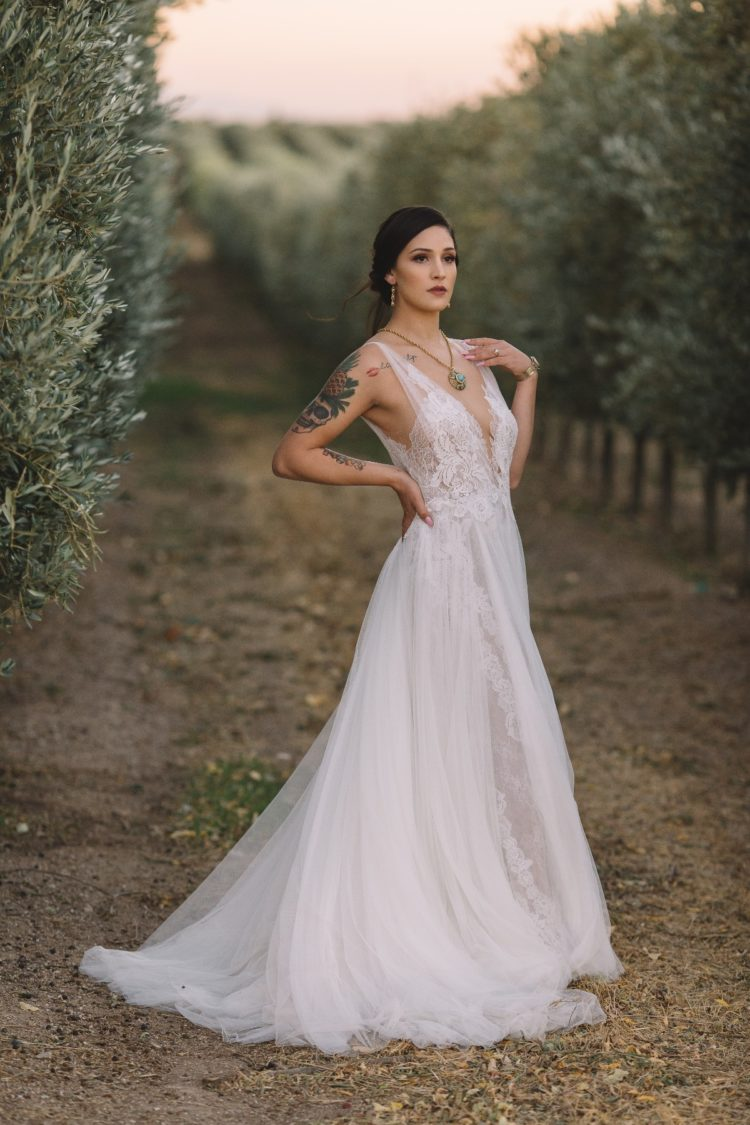 a beautiful A-line wedding gown with a lace bodice on thick straps, a plunging neckline and a layered skirt