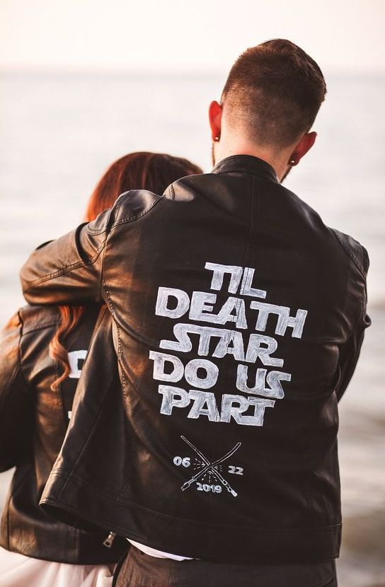 a black leather jacket with a Star Wars quote is a lovely idea for a Star Wars couple