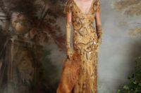 a gorgeous gold embellished wedding dress