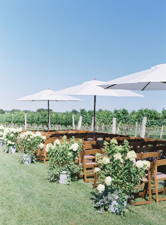 a vineyard wedding ceremony space with white floral arrangements and greenery, white umbrellas