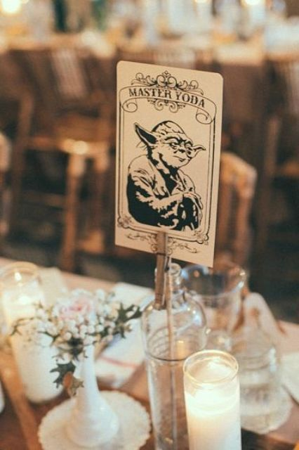 a wedding table marked with a Yoda card is a lovely idea to give names to tables for Star Wars fans