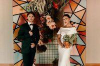 a cute geometric wedding backdrop