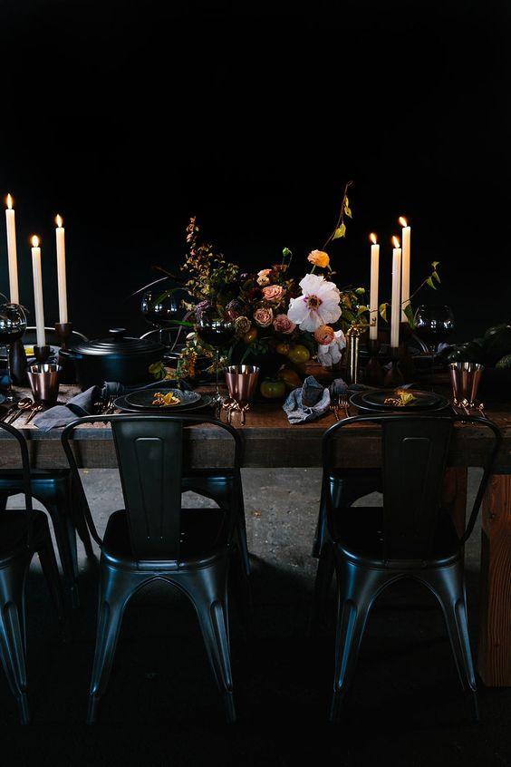 a cozy moody halloween table decor