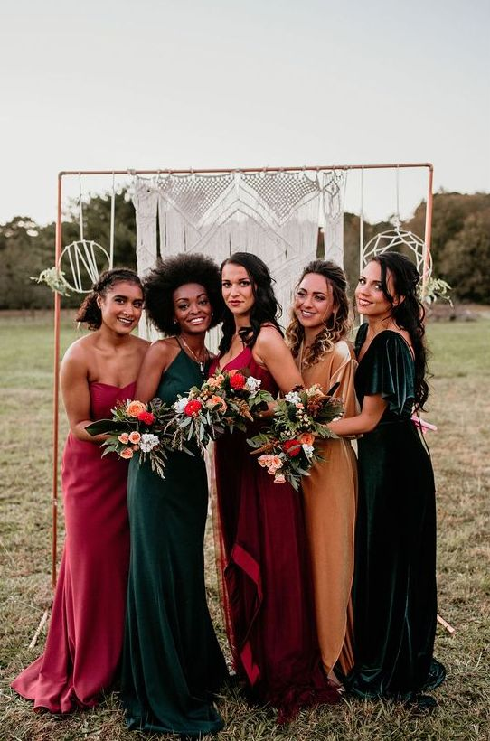 beautiful mismatching jewel tone maxi bridesmaid dresses - red, pink, dark green and marigold ones are amazing