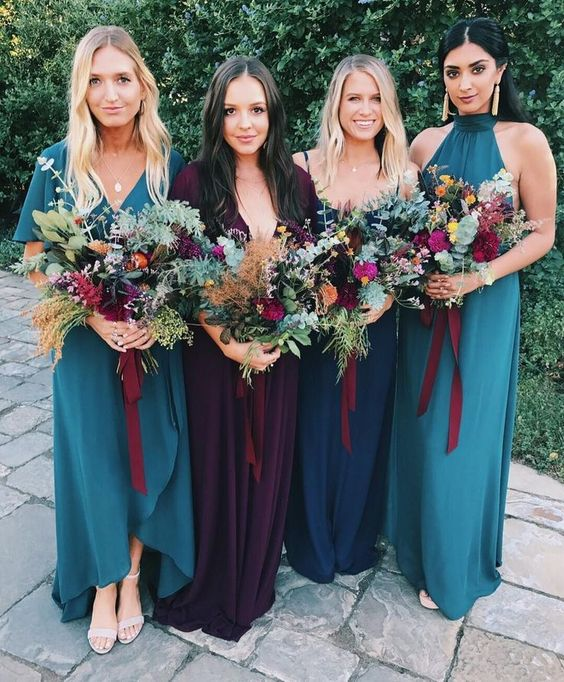 blue, navy and deep purple maxi and high low bridesmaid dresses are amazing for a blue and purple fall wedding and are chic