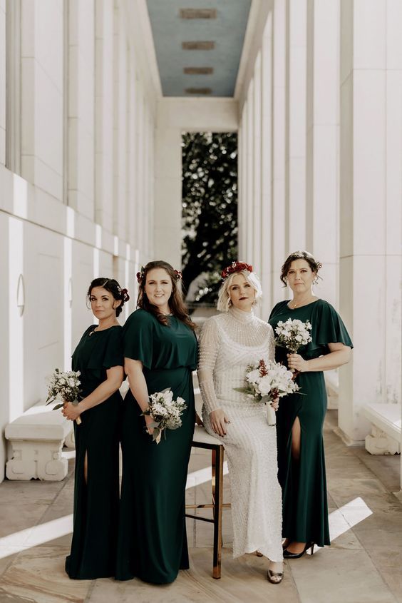 dak greem maxi bridesmaid dresses with slits and high necklines are a chic and bold solution for a fall wedding