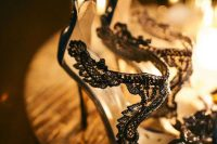 fantastic black lace and sheer parts wedding shoes with peep toes and high heels are a very refined idea for a Halloween bride