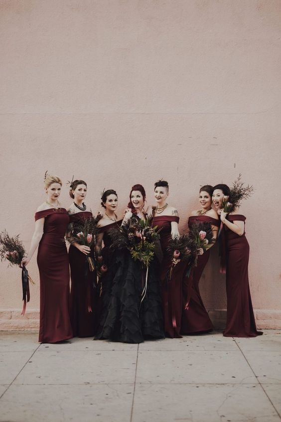 gorgeous off the shoulder brugundy sheath bridesmaid dresses and moody lips for an ultimate Halloween wedding