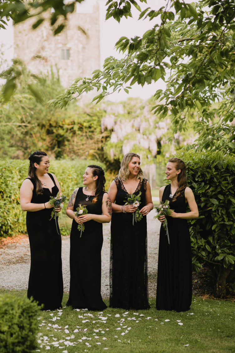 mismatching black plain and lace maxi bridesmaid dresses with various designs are fantastic and very elegant