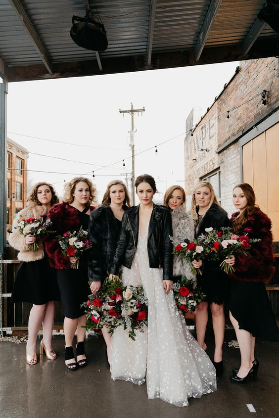 msiamtching black short bridesmaid dresses, various coverups and black and nude shoes for a stylish Halloween look