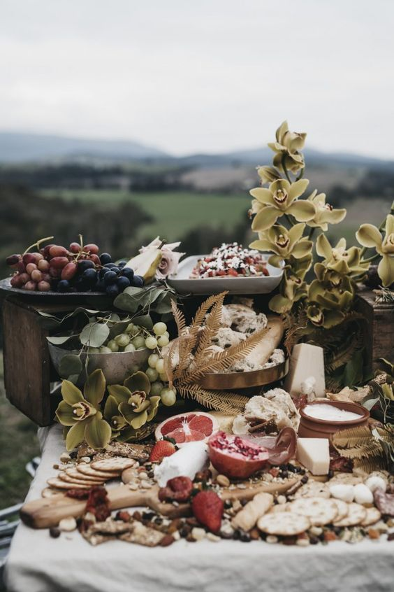 serve all the delicious local foods and appetizers on your wedding grazing table and embrace the location