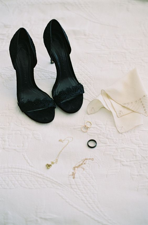 sexy black lace heels are a gorgeous idea for your Halloween wedding and can be rocked for some dates after it