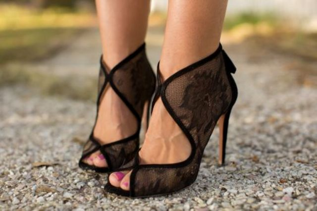 sheer black lace cutout shoes with peep toes and high heels are a gorgeous solution for a Halloween bride