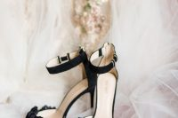 sophisticated black embellished ankle strap wedding shoes with velvet bows are a beautiful idea for a Halloween wedding and they look cool