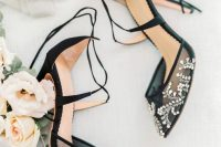 sophisticated sheer black strap wedding shoes with beautiful detailing is a gorgeous idea for a Halloween wedding and not only