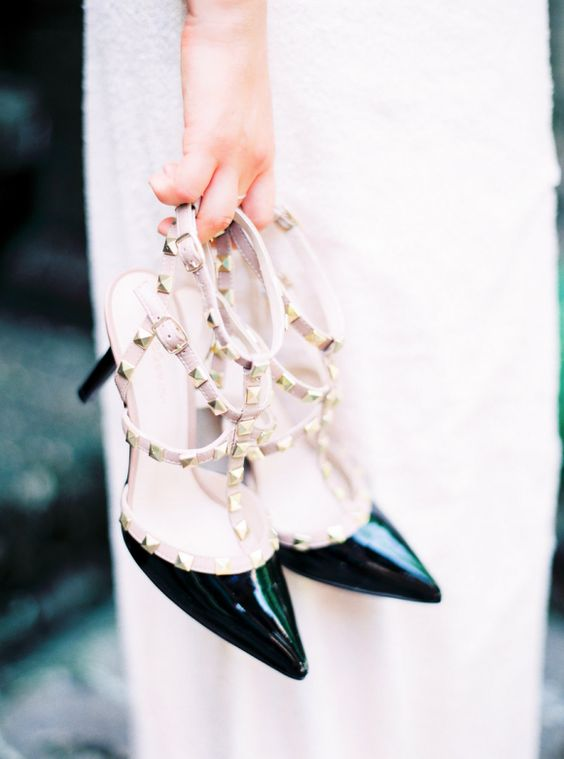 studded shoes are a trend, and such black studded heels by Valentino are a chic idea for a Halloween bride