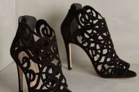 suede laser cut peep toe black booties with high heels are a gorgeous solution for a refined Halloween bridal look