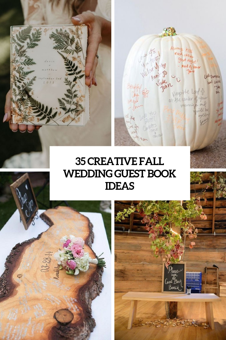 creative fall wedding guest book ideas cover