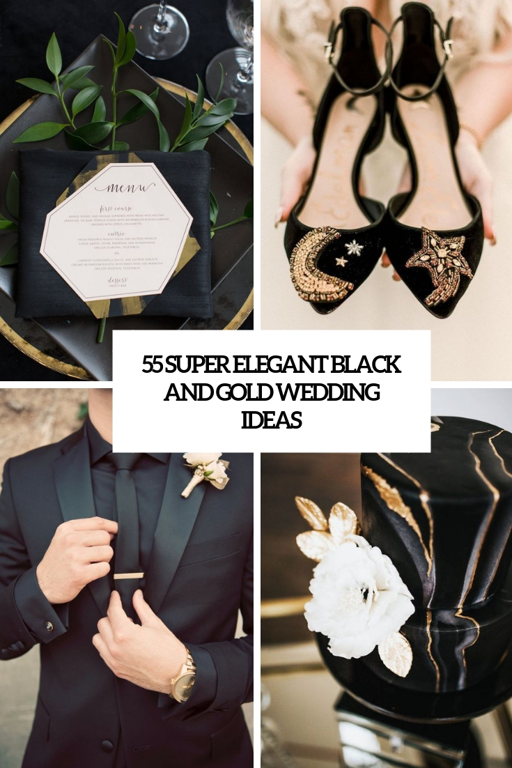 super elegnat black and gold wedding ideas cover