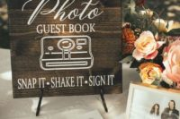 a photo wedding guest book with snaps is a very creative and cool idea for a wedding in any season