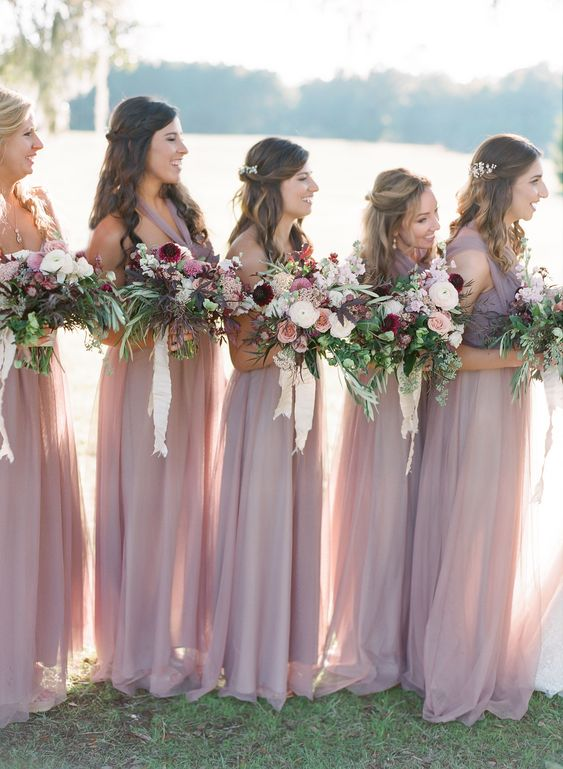 a tender mismatching mauve maxi bridesmaid dresses are very chic, beautiful and delicate
