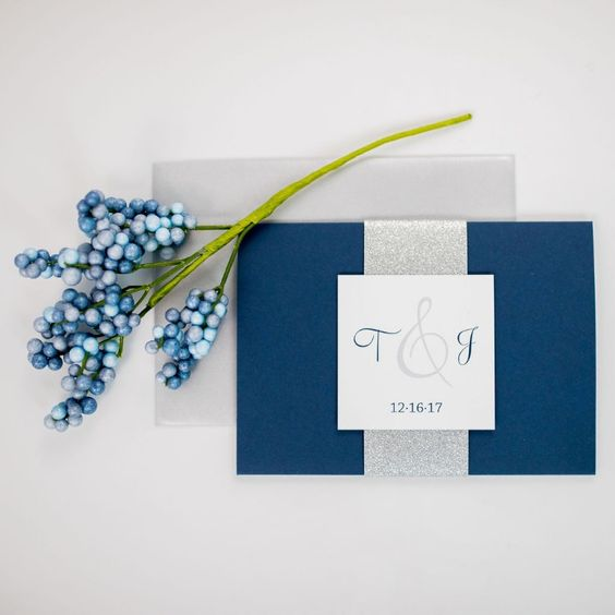 an elegant navy and silver glitter invitation suite with a grey envelope, monograms is a bold idea