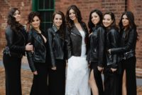 black leather jackets give the gals a bold and edgy look and keep them warm with style