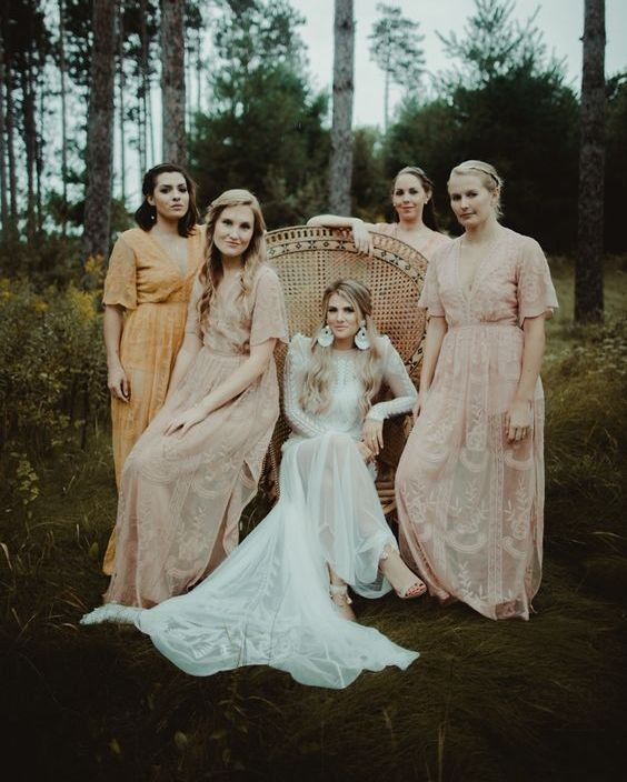blush boho maxi dresses with short sleeves and a marigold matching one for the maid of honor