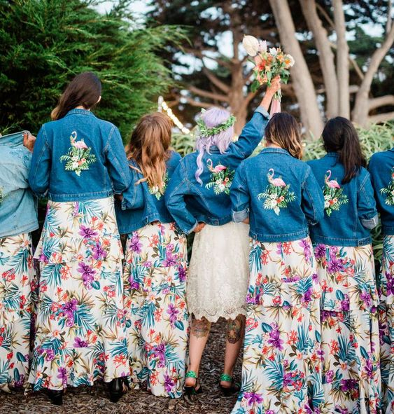 bright painted and embroidered denim jackets as coverups for a tropical wedding are fun and unique