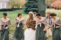 brown faux fur coverups with silk bows are cute and chic coverups for fall bridesmaids