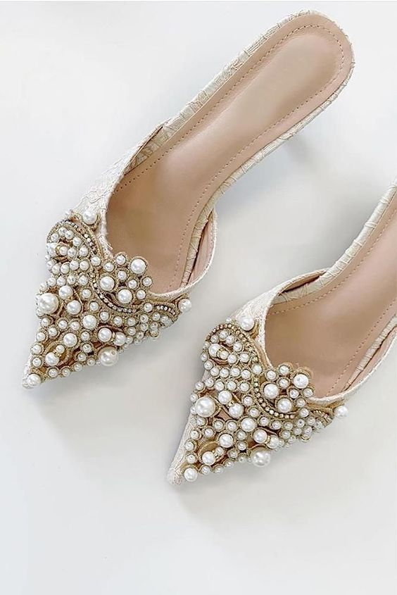 catchy neutral wedding shoes all covered with gorgeous pearls in patterns look amazing