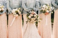 custom painted denim jackets for the bride and bridesmaids in light blue add a relaxed feel to the outfits