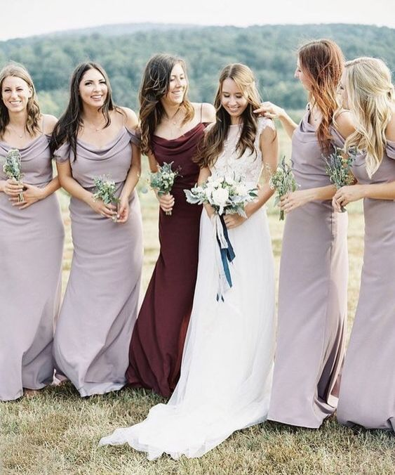 draped lilac maxi dresses with spaghetti straps and a matching dress of burgundy velvet for the maid of honor
